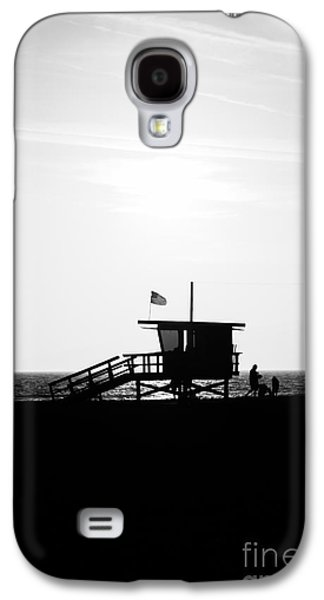 Monica Galaxy S4 Cases - California Lifeguard Stand in Black and White Galaxy S4 Case by Paul Velgos