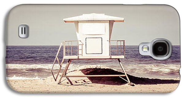 Pacific Ocean Prints Galaxy S4 Cases - California Lifeguard Tower Retro Panoramic Picture Galaxy S4 Case by Paul Velgos