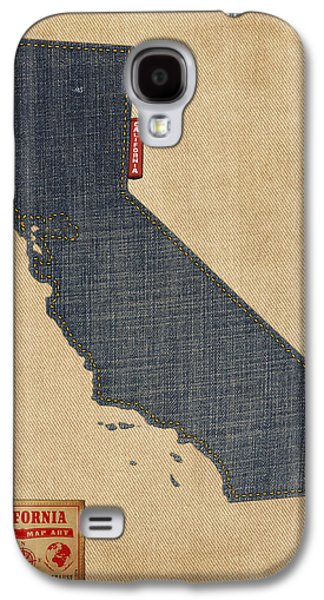 Cartography Digital Art Galaxy S4 Cases - California Map Denim Jeans Style Galaxy S4 Case by Michael Tompsett