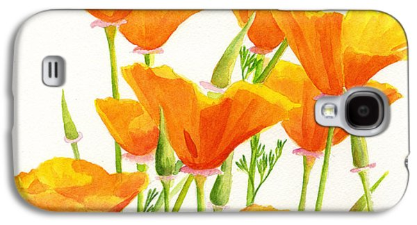 Recently Sold -  - Botanical Galaxy S4 Cases - California Poppies Square Design Galaxy S4 Case by Sharon Freeman