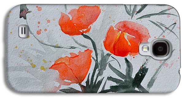 Splashy Paintings Galaxy S4 Cases - California Poppies Sumi-e Galaxy S4 Case by Beverley Harper Tinsley