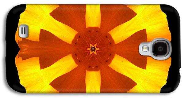 David J Bookbinder Galaxy S4 Cases - California Poppy Flower Mandala Galaxy S4 Case by David J Bookbinder