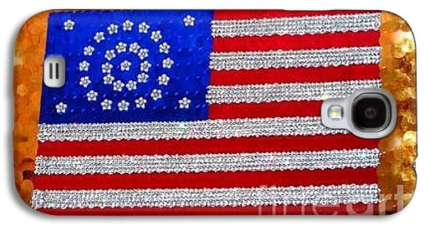 Beadwork Jewelry Galaxy S4 Cases - California the 31st star. American flag crystal beads Galaxy S4 Case by Sofia Metal Queen