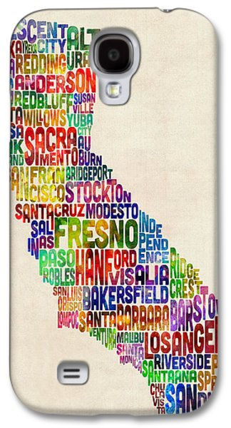 Text Galaxy S4 Cases - California Typography Text Map Galaxy S4 Case by Michael Tompsett
