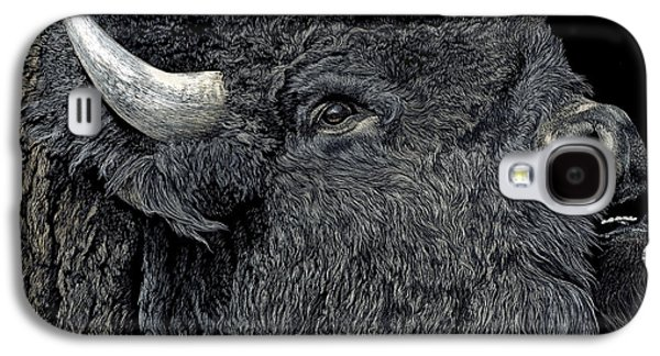 Bison Drawings Galaxy S4 Cases - Call of the Prairie Galaxy S4 Case by Ann Ranlett