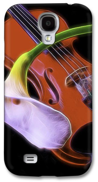 Graphic Photographs Galaxy S4 Cases - Calla lily With Violin Galaxy S4 Case by Garry Gay