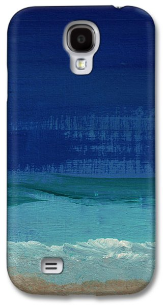 Blue Abstract Galaxy S4 Cases - Calm Waters- Abstract Landscape Painting Galaxy S4 Case by Linda Woods