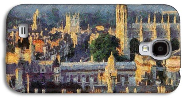 Cambridge Paintings Galaxy S4 Cases - Cambridge panorama Galaxy S4 Case by Georgi Dimitrov