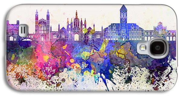 Cambridge Paintings Galaxy S4 Cases - Cambridge skyline in watercolor background Galaxy S4 Case by Pablo Romero