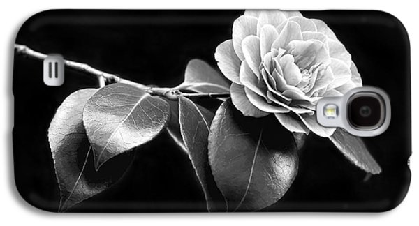 Camellia Galaxy S4 Cases - Camellia Flower in Black and White Galaxy S4 Case by Jennie Marie Schell