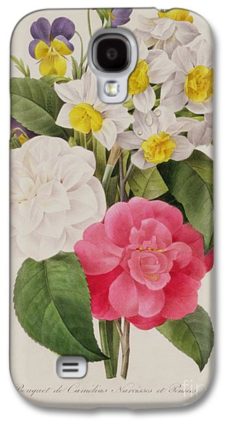Camellia Galaxy S4 Cases - Camellias Narcissus and Pansies Galaxy S4 Case by Pierre Joseph Redoute