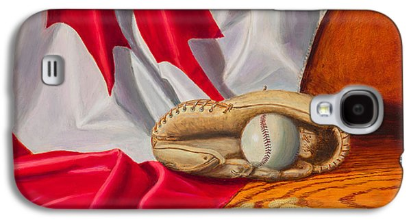 Baseball Glove Paintings Galaxy S4 Cases - Canada Baseball Galaxy S4 Case by Gary  Faulkner