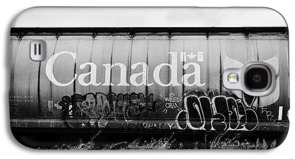 Vandalize Photographs Galaxy S4 Cases - Canada freight grain trucks with tag graffiti on canadian pacific railway Saskatchewan Canada Galaxy S4 Case by Joe Fox