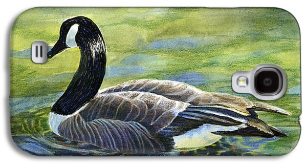 Colored Pencil Paintings Galaxy S4 Cases - Canada Goose Reflections Galaxy S4 Case by Sharon Freeman