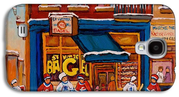 Canadian Sports Paintings Galaxy S4 Cases - Canadian  Artists Paint Hockey And Montreal Streetscenes Over 500 Prints Available  Galaxy S4 Case by Carole Spandau