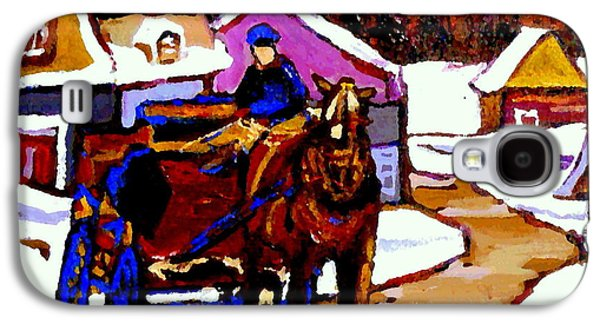 Horse And Buggy Paintings Galaxy S4 Cases - Canadian Landscape Paintings Quebec Village Scenes Horse Sled And Rider Quebec Paintings C Spandau Galaxy S4 Case by Carole Spandau