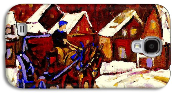 Horse And Buggy Paintings Galaxy S4 Cases - Canadian Landscape Paintings Red Sled Rider Leaving The Village Quebec Winter Painting Cspandau  Galaxy S4 Case by Carole Spandau