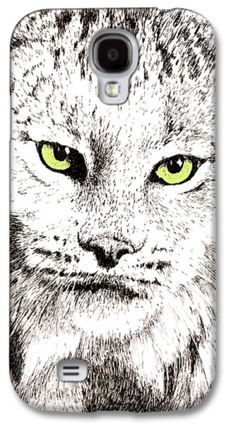 Bobcats Drawings Galaxy S4 Cases - Canadian Lynx Galaxy S4 Case by Paul Kmiotek