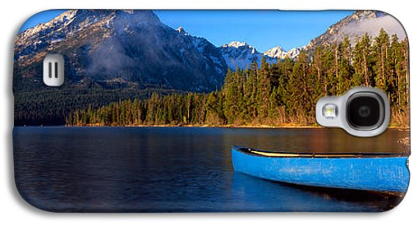 Reflections Of Sky In Water Galaxy S4 Cases - Canoe In Lake In Front Of Mountains Galaxy S4 Case by Panoramic Images