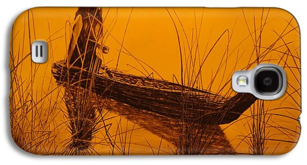 Canoe Drawings Galaxy S4 Cases - Canoe of Tules Galaxy S4 Case by Charles Rogers