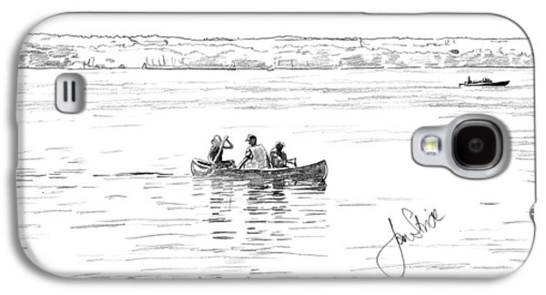 Canoe Drawings Galaxy S4 Cases - Canoeing on the Lake Galaxy S4 Case by Jan Stride
