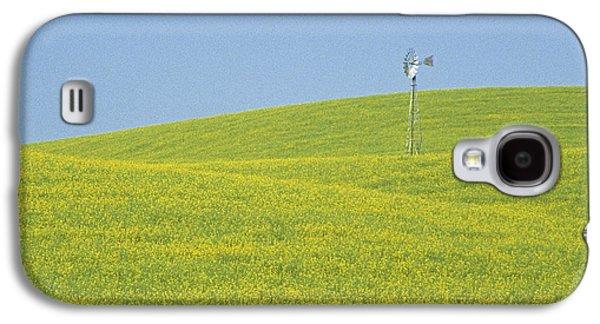 Contour Farming Galaxy S4 Cases - Canola Windmill Galaxy S4 Case by Latah Trail Foundation