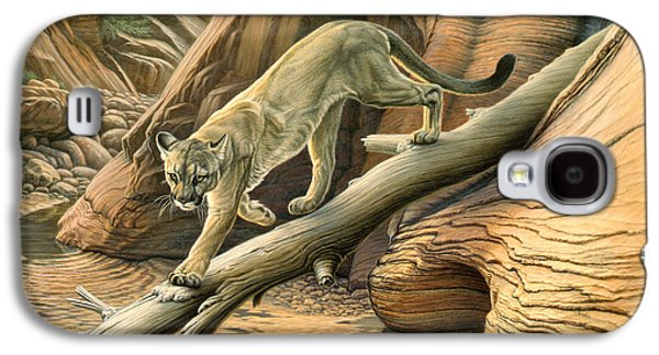 National Park Paintings Galaxy S4 Cases - Canyon Hunter -  Cougar Galaxy S4 Case by Paul Krapf