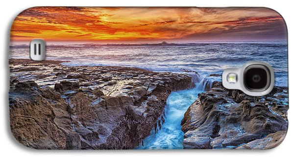 Ocean Sunset Galaxy S4 Cases - Cape Arago Crevasse HDR Galaxy S4 Case by Robert Bynum