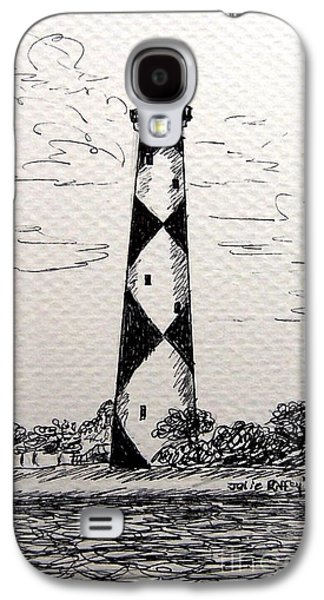 Historic Home Drawings Galaxy S4 Cases - Cape Lookout Lighthouse NC Galaxy S4 Case by Julie Brugh Riffey