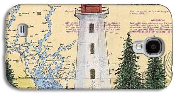 Chart Paintings Galaxy S4 Cases - Cape Mudge Lighthouse BC Canada Nautical Chart Map Art Galaxy S4 Case by Cathy Peek