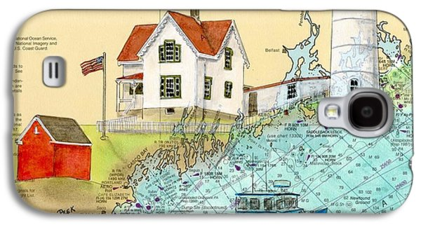 New England Lighthouse Paintings Galaxy S4 Cases - Cape Neddick Lighthouse ME Nautical Chart Map Art Cathy Peek Galaxy S4 Case by Cathy Peek