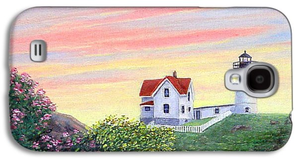 Nubble Lighthouse Paintings Galaxy S4 Cases - Cape Neddick Sunrise Galaxy S4 Case by Fran Brooks