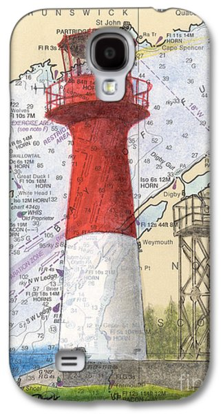 Chart Paintings Galaxy S4 Cases - Cape Spencer Lighthouse NB Canada Nautical Chart Map Art Galaxy S4 Case by Cathy Peek