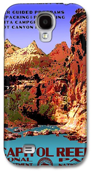 Scenic Drive Galaxy S4 Cases - Capitol Reef National Park Vintage Poster Galaxy S4 Case by Eric Glaser