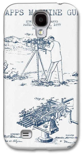 Machine Galaxy S4 Cases - Capps Machine Gun Patent Drawing from 1899 -  Blue Ink Galaxy S4 Case by Aged Pixel