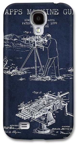 Machine Galaxy S4 Cases - Capps Machine Gun Patent Drawing from 1899 - Navy Blue Galaxy S4 Case by Aged Pixel