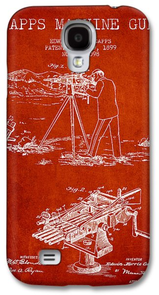 Machine Galaxy S4 Cases - Capps Machine Gun Patent Drawing from 1899 - Red Galaxy S4 Case by Aged Pixel
