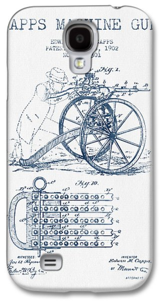 Machine Galaxy S4 Cases - Capps Machine Gun Patent Drawing from 1902 -  Blue Ink Galaxy S4 Case by Aged Pixel