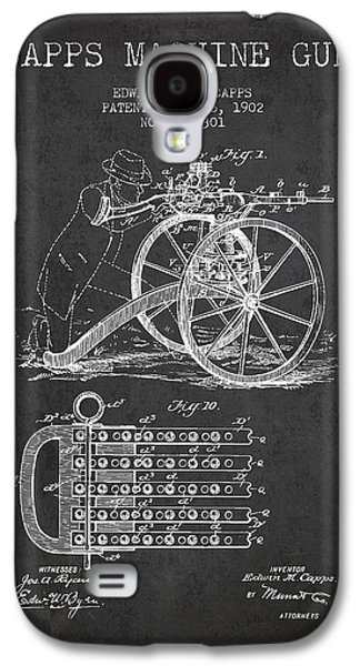 Machine Galaxy S4 Cases - Capps Machine Gun Patent Drawing from 1902 - Dark Galaxy S4 Case by Aged Pixel