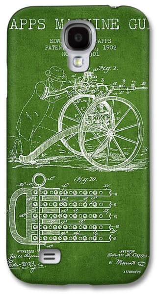 Machine Galaxy S4 Cases - Capps Machine Gun Patent Drawing from 1902 - Green Galaxy S4 Case by Aged Pixel