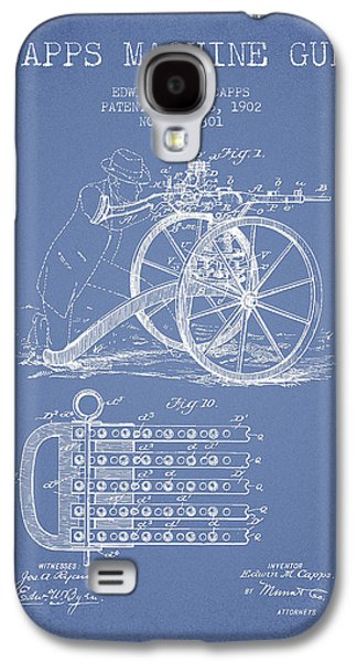 Machine Galaxy S4 Cases - Capps Machine Gun Patent Drawing from 1902 - Light Blue Galaxy S4 Case by Aged Pixel