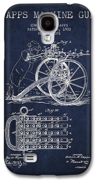 Machine Galaxy S4 Cases - Capps Machine Gun Patent Drawing from 1902 - Navy Blue Galaxy S4 Case by Aged Pixel