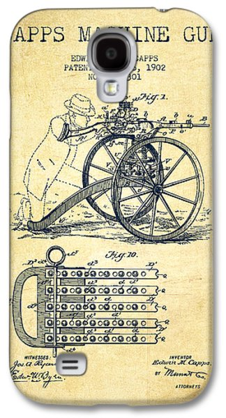 Machine Galaxy S4 Cases - Capps Machine Gun Patent Drawing from 1902 - Vintage Galaxy S4 Case by Aged Pixel