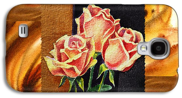 Abstractions Paintings Galaxy S4 Cases - Cappuccino Abstract Collage French Roses Galaxy S4 Case by Irina Sztukowski