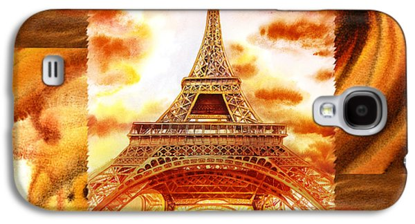 Abstract Movement Galaxy S4 Cases - Cappuccino In Paris Abstract Collage Eiffel Tower Galaxy S4 Case by Irina Sztukowski