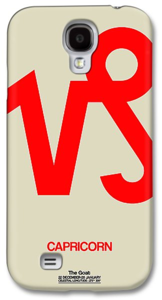 Virgo Galaxy S4 Cases - Capricorn Zodiac Sign Red Galaxy S4 Case by Naxart Studio