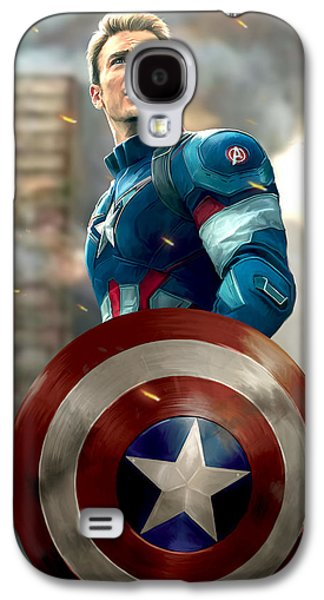 Shield Digital Galaxy S4 Cases - Captain America - No Helmet Galaxy S4 Case by Paul Tagliamonte
