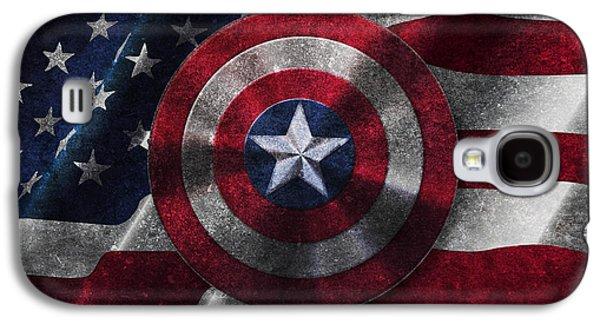 Shield Digital Art Galaxy S4 Cases - Captain America Shield on USA Flag Galaxy S4 Case by Georgeta Blanaru