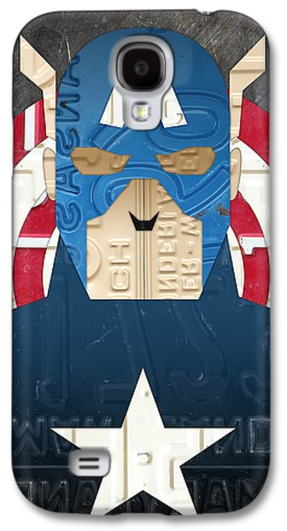 Captain Galaxy S4 Cases - Captain America Superhero Portrait Recycled License Plate Art Galaxy S4 Case by Design Turnpike