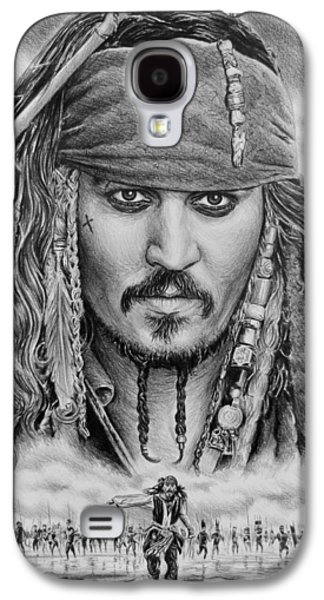 Character Portraits Drawings Galaxy S4 Cases - Captain Jack Sparrow Galaxy S4 Case by Andrew Read